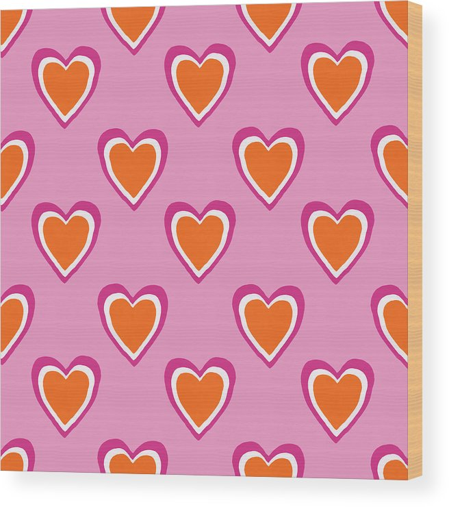 Hearts Wood Print featuring the mixed media Pink And Orange Hearts- Art by Linda Woods by Linda Woods