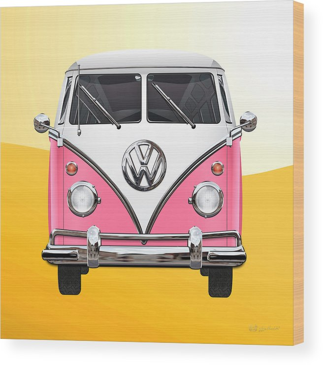 'volkswagen Type 2' Collection By Serge Averbukh Wood Print featuring the photograph Pink and White Volkswagen T 1 Samba Bus on Yellow by Serge Averbukh