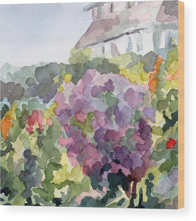 French Wood Print featuring the painting Purple Blossoms Monets Garden Watercolor Paintings of France by Beverly Brown Prints