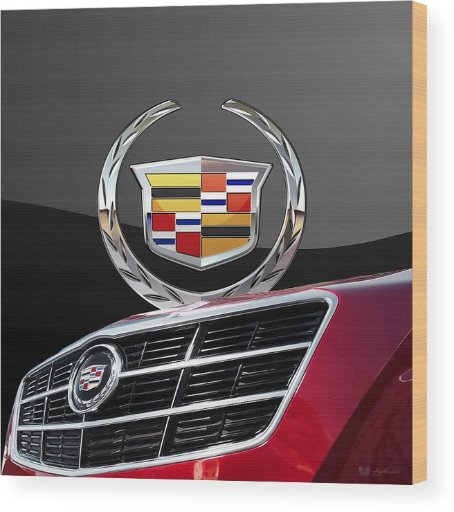 'auto Badges' By Serge Averbukh Wood Print featuring the photograph Red Cadillac C T S - Front Grill Ornament and 3D Badge on Black by Serge Averbukh