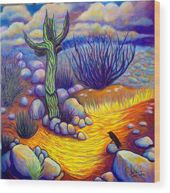 Landscape Wood Print featuring the painting Resurrection by Steve Lawton