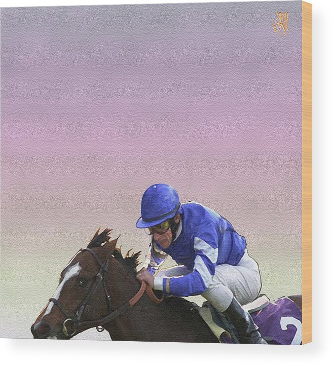 Horse Race Wood Print featuring the digital art Ride to Glory by John Helgeson