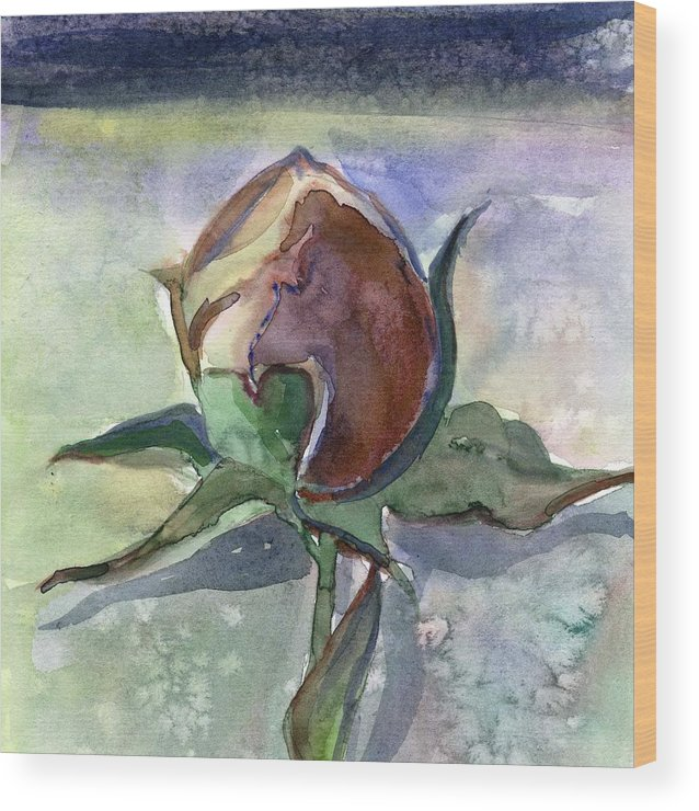 Rose Wood Print featuring the painting Rose in the Snow by Mindy Newman