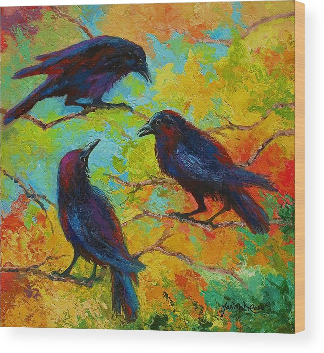 Crows Wood Print featuring the painting Roundtable Discussion - Crows by Marion Rose