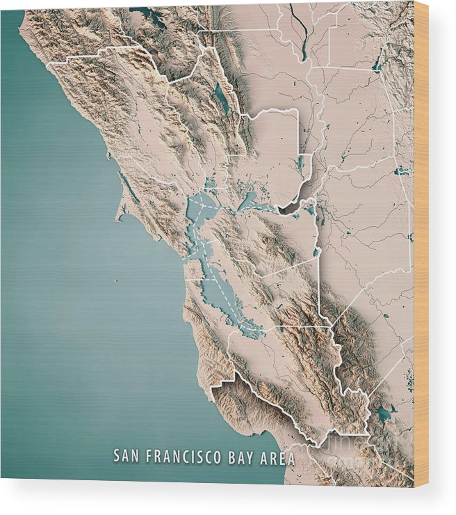 san francisco bay topographic map San Francisco Bay Area Usa 3d Render Topographic Map Neutral Wood