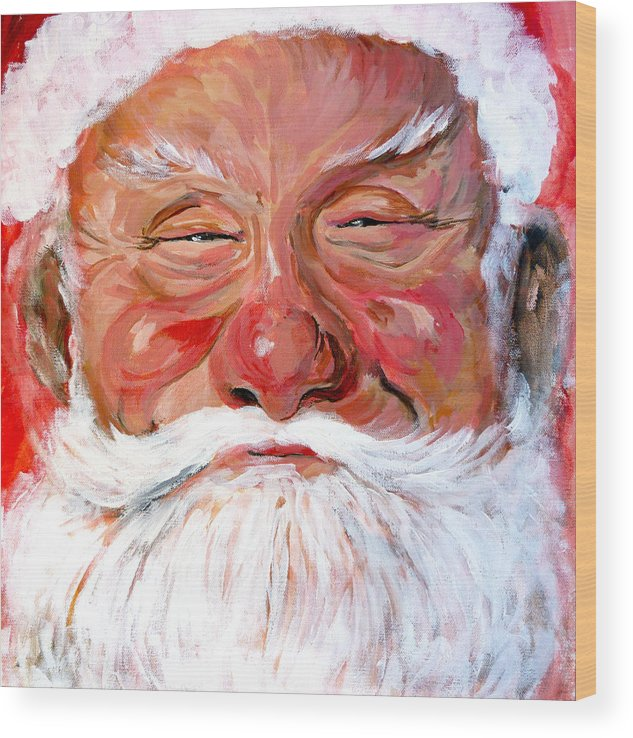 Santa Wood Print featuring the painting Santa Claus by Tom Roderick