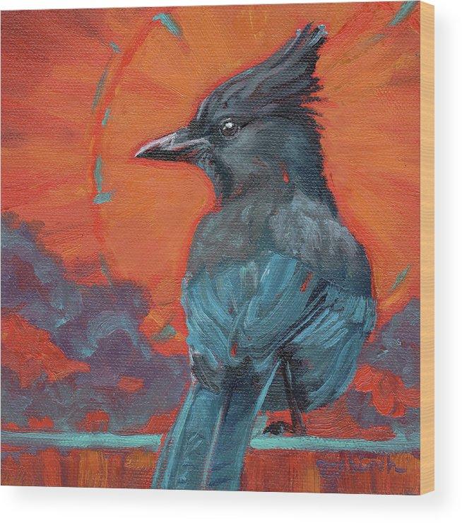 Stellar's Jay Wood Print featuring the painting Sassy Sunburst by Tahirih Goffic