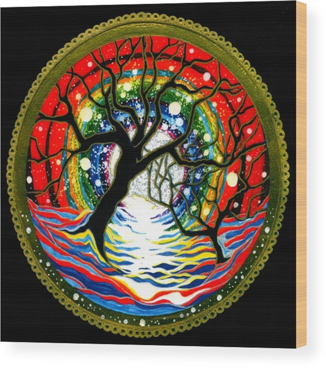 Spiritual Meditative Mandala Wood Print featuring the painting Sea Of Color by Pam Ellis