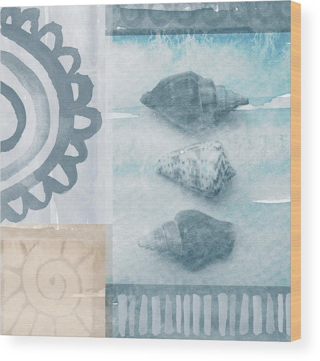 Beach Wood Print featuring the painting Seashells by Linda Woods