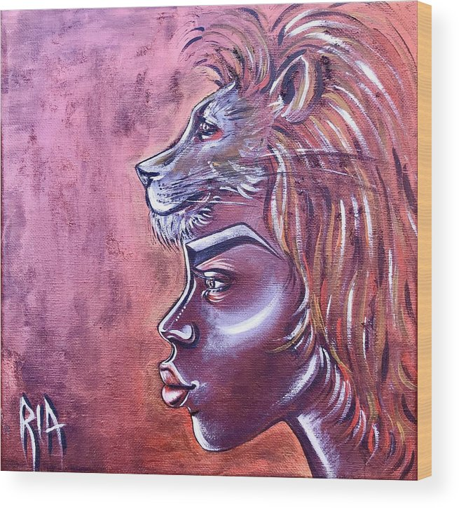 Lion Wood Print featuring the painting She Has Goals by Artist RiA