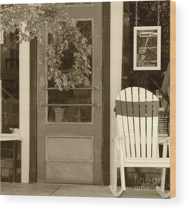 Rocking Chair Wood Print featuring the photograph Simple Times by Debbi Granruth
