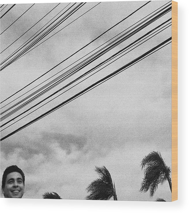 Minimal Wood Print featuring the photograph Smiling Palm Tree  #head #portrait by Rafa Rivas