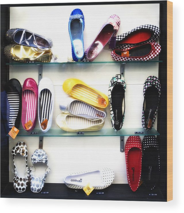 Shoes Wood Print featuring the photograph So many shoes... by Marilyn Hunt