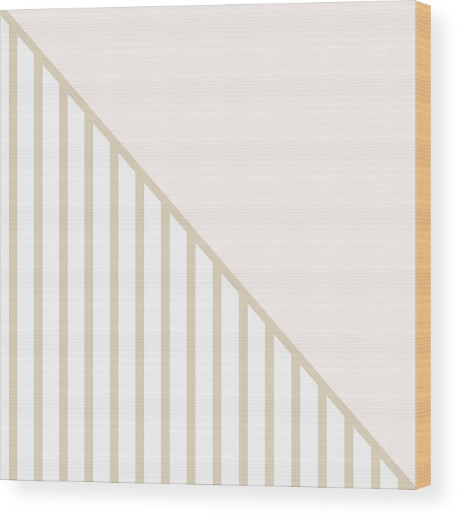 Blush Wood Print featuring the digital art Soft Blush and Champagne Stripe Triangles by Linda Woods