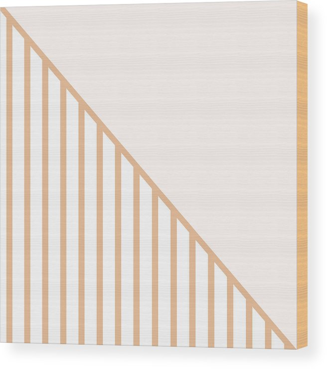 Pink Wood Print featuring the digital art Soft Blush and Coral Stripe Triangles by Linda Woods