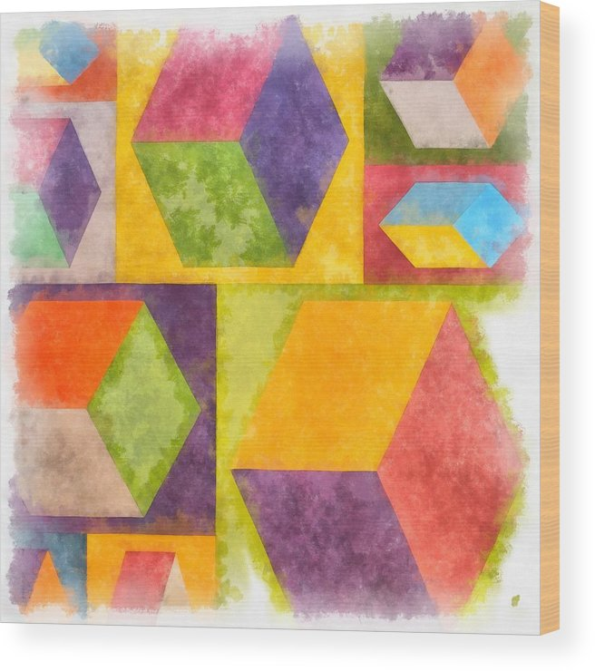 Painting Wood Print featuring the painting Square Cubes Abstract by Edward Fielding