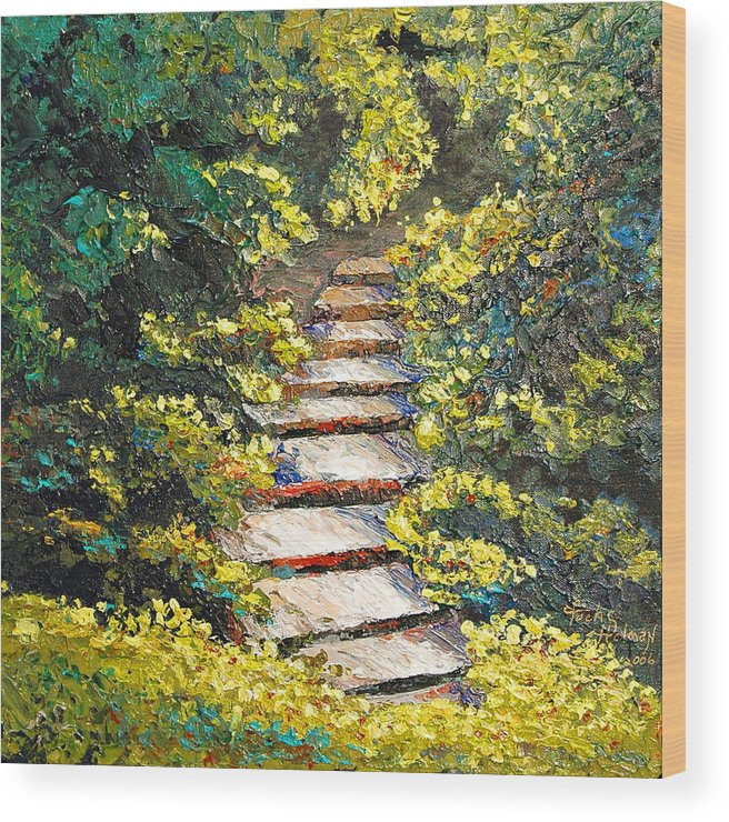 Landscape Wood Print featuring the painting Stairway to Heaven by Cathy Fuchs-Holman