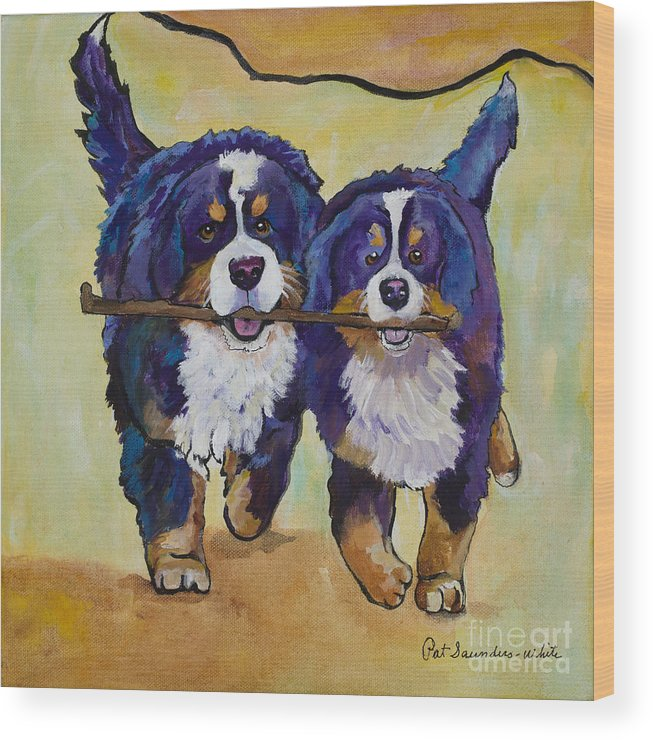 Bernese Mountain Dogs Wood Print featuring the painting Stick Together by Pat Saunders-White