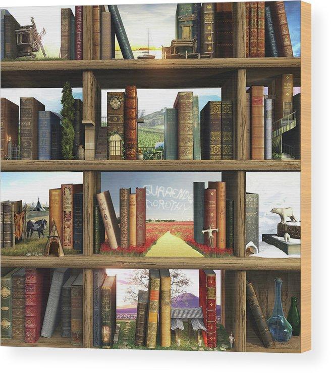 Books Wood Print featuring the digital art StoryWorld by Cynthia Decker