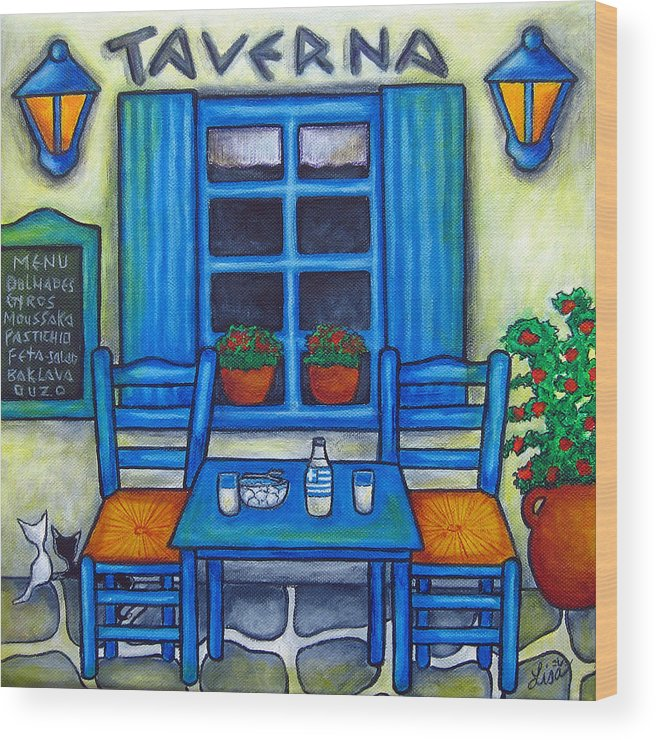 Blues Wood Print featuring the painting Table for Two in Greece by Lisa Lorenz