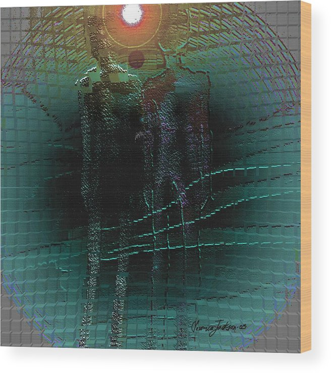 People Alien Arrival Visitors Wood Print featuring the digital art The Arrival by Veronica Jackson