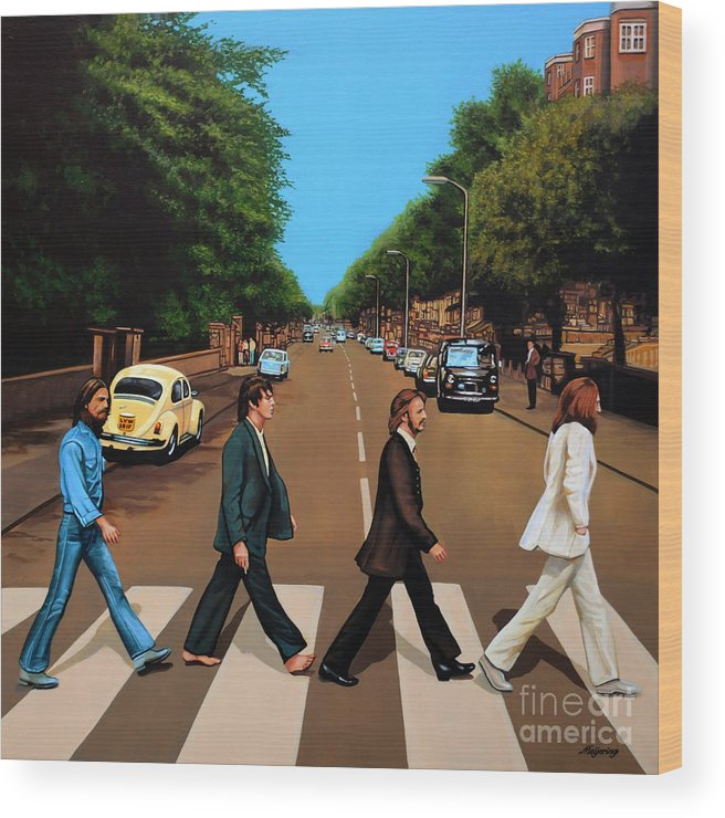 The Beatles Wood Print featuring the painting The Beatles Abbey Road by Paul Meijering
