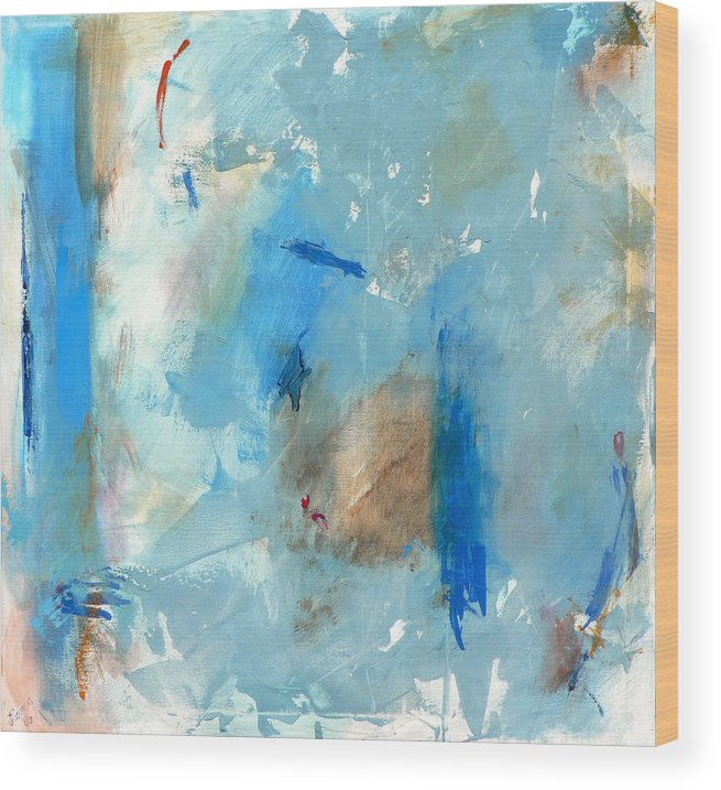 Abstract Wood Print featuring the painting The Blues by Jacquie Gouveia