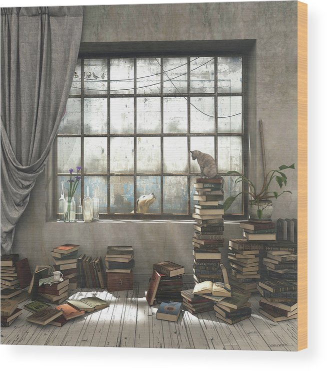 Books Wood Print featuring the digital art The Introvert by Cynthia Decker