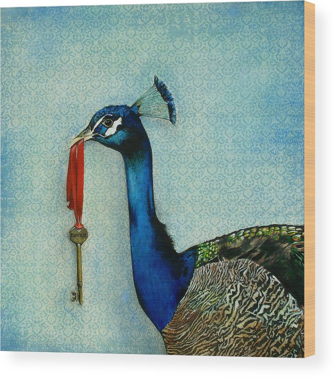The Key To Success Wood Print featuring the painting The Key To Success by Carrie Jackson