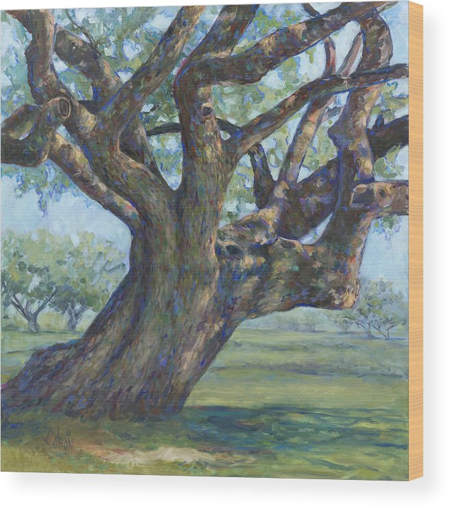 Live Oak Tree Wood Print featuring the painting The Mighty Oak by Billie Colson