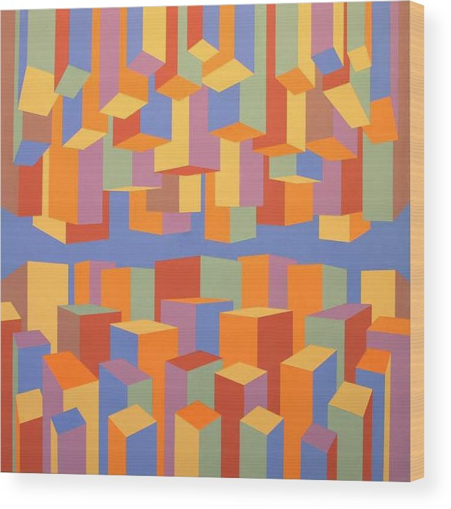 Abstract Wood Print featuring the painting The Upside of Down by Marston A Jaquis