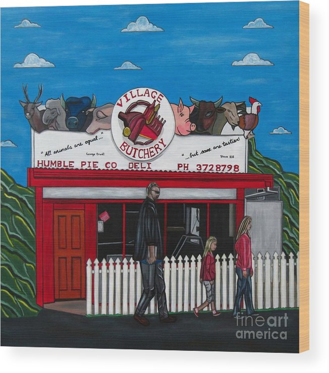 Buildings Wood Print featuring the painting The Village by Sandra Marie Adams