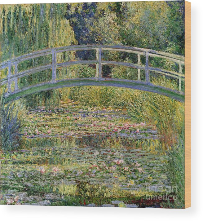 The Wood Print featuring the painting The Waterlily Pond with the Japanese Bridge by Claude Monet