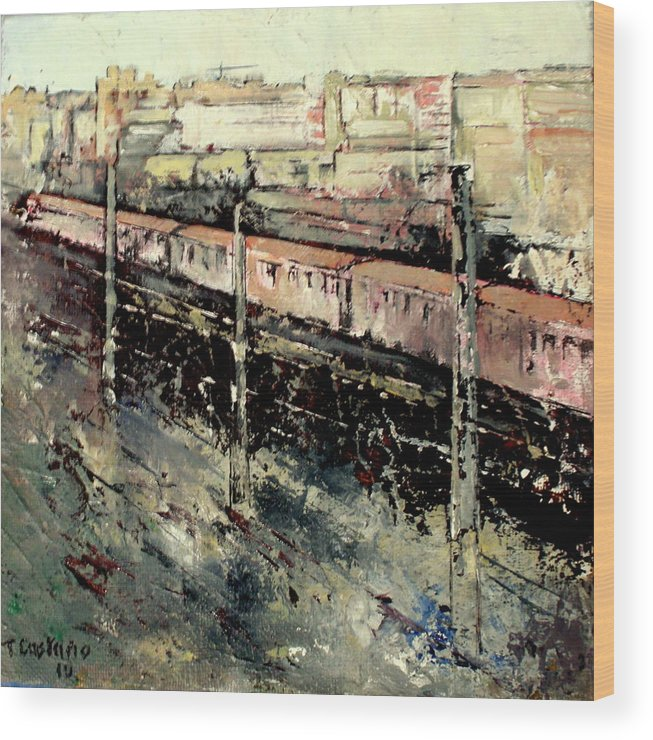 Train Wood Print featuring the painting Train by Tomas Castano