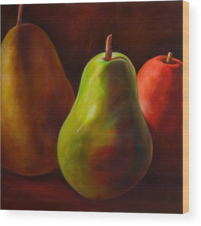 Fruit Wood Print featuring the painting Tri Pear by Shannon Grissom