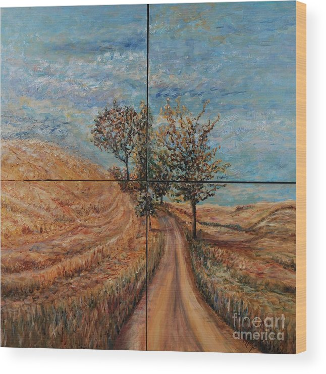 Landscape Wood Print featuring the painting Tuscan Journey by Nadine Rippelmeyer