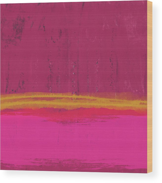 Abstract Wood Print featuring the mixed media Undaunted Pink Abstract- Art by Linda Woods by Linda Woods