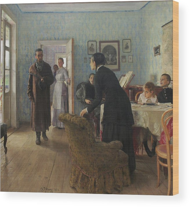 Ilya Repin Wood Print featuring the painting Unexpected Visitors by Ilya Repin