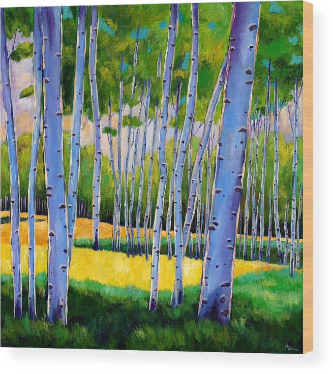 Landscapes Wood Print featuring the painting View Through Aspen by Johnathan Harris