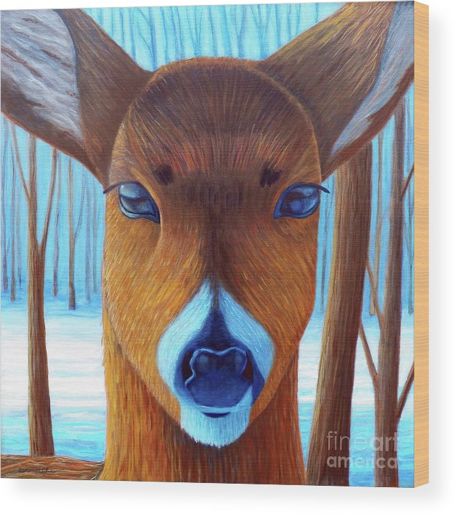 Deer Wood Print featuring the painting Wait For The Magic by Brian Commerford