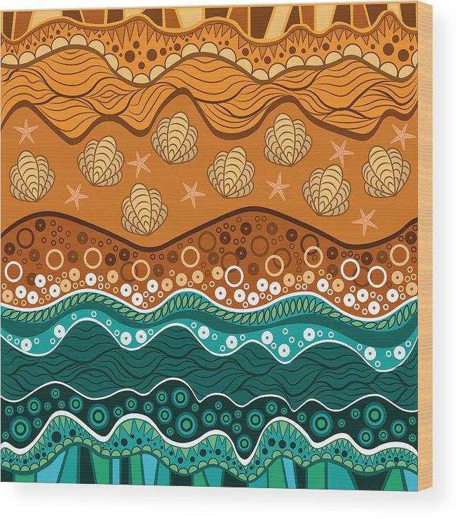 Water Wood Print featuring the digital art Waves by Veronika S