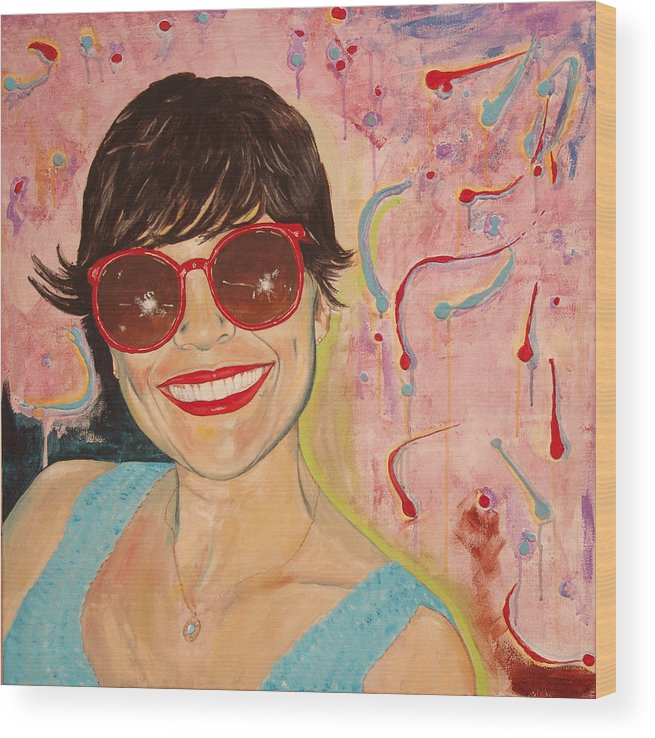 Portrait Wood Print featuring the painting When Irene Smiles by Kevin Callahan