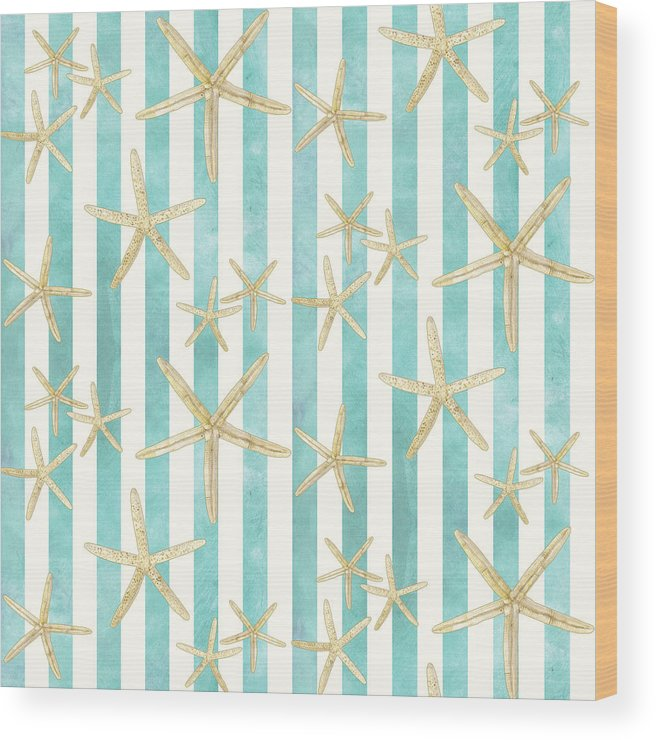 Watercolor Wood Print featuring the painting White Finger Starfish Watercolor Stripe Pattern by Audrey Jeanne Roberts