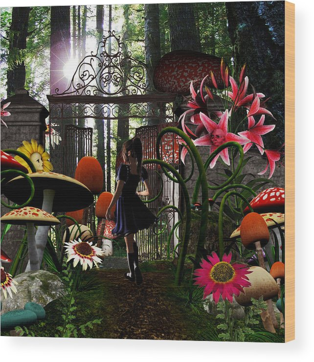 Wonderland Alice Madhatter Story Kids Wood Print featuring the digital art wonderland Mine by Lisa Roy
