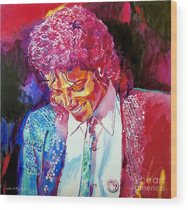 Michael Jackson Wood Print featuring the painting Young Michael Jackson by David Lloyd Glover