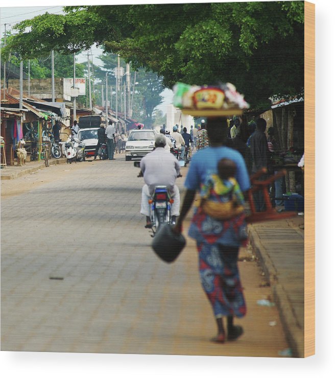 Trading Wood Print featuring the photograph African Street Scene by Peeterv