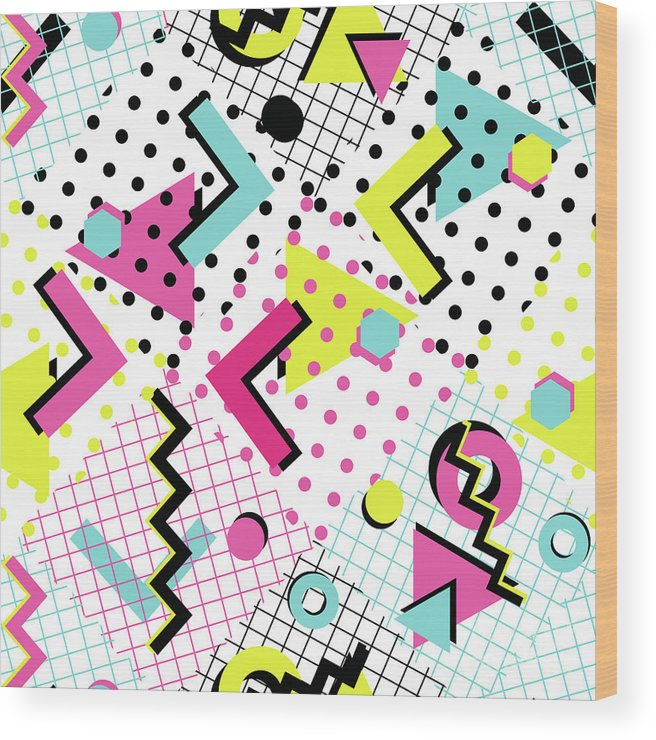 1980-1989 Wood Print featuring the digital art Colorful Abstract 80s Style Seamless by Alex bond