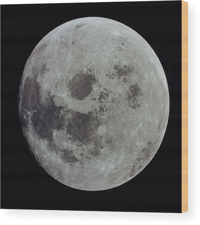 Black Background Wood Print featuring the photograph Full Moon by Nasa