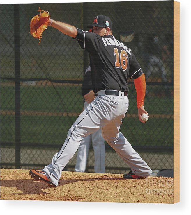 People Wood Print featuring the photograph Miami Marlins Workout by Rob Foldy