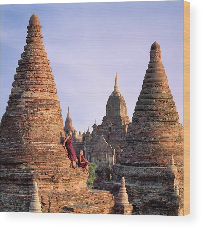 Child Wood Print featuring the photograph Myanmar, Bagan, Buddhist Monks On Temple by Martin Puddy